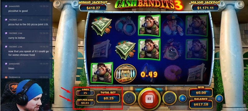 Cash Bandits 3 Slots Bet Setting