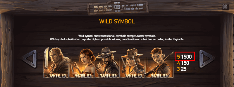 Dead or Alive Wilds Paytable